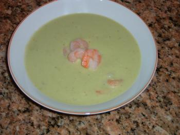 Avocado Soup with Shrimp
