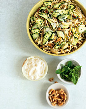 Fettuccine with Walnuts and Avocado