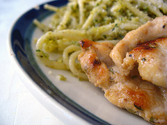 Pasta and Grilled Chicken with Walnut Pesto Sauce