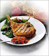 grilled coriander-pepper chops