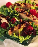 Chicken and Mesclun Salad with Raspberry-Walnut Vinaigrette