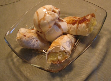 Rummy Baked Bananas with Ice Cream