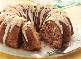 Coconut Bundt Cake with Powdered Sugar Glaze